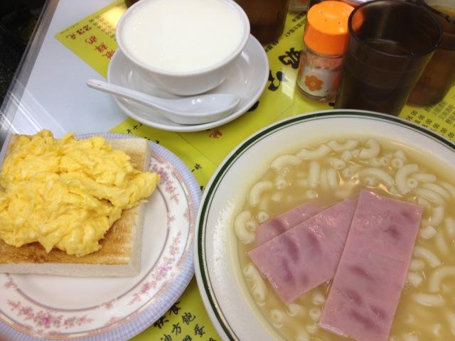 Scrambled Eggs on Toast and Ham Macaroni