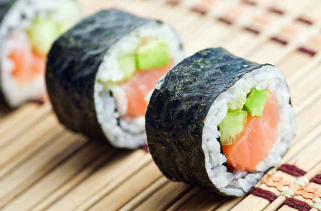 Maki Sushi is cut into bite-sized pieces for easier consumption