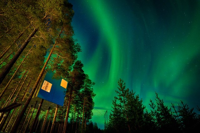 The Tree Hotel is situated in the ideal spot to admire the Northern Lights during winter