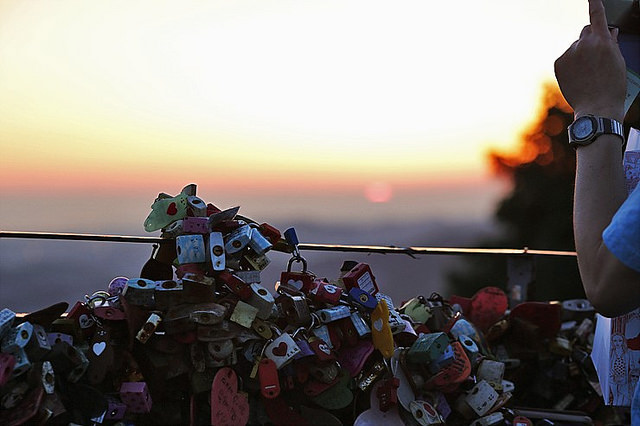 Lovelocks atop Namsan at Sunset