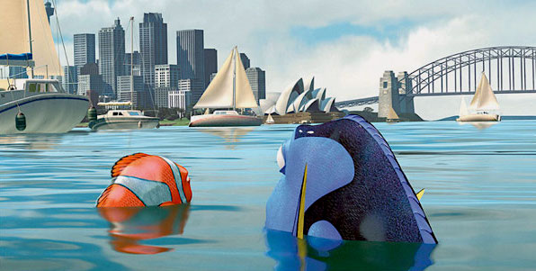 Marlin and Dory in view of the Sydney Harbour's skyline in Finding Nemo