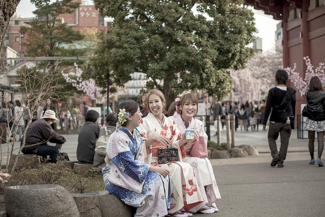 Ladies in Kimono on the streets of Tokyo