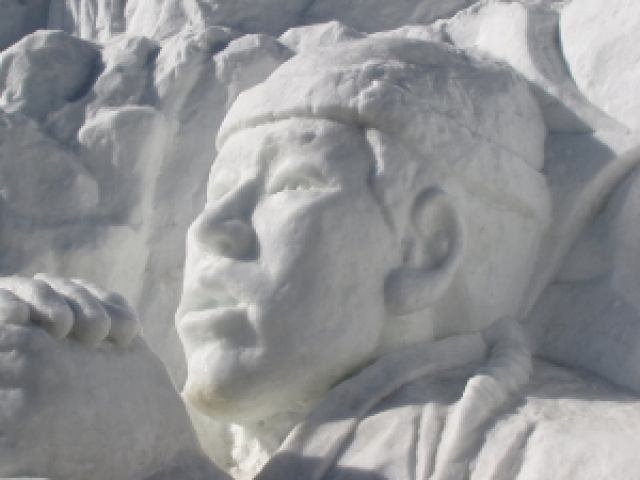 Snow sculpture at Hwacheon Sancheoneo Ice Festival