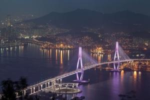 Busan night view of bridge