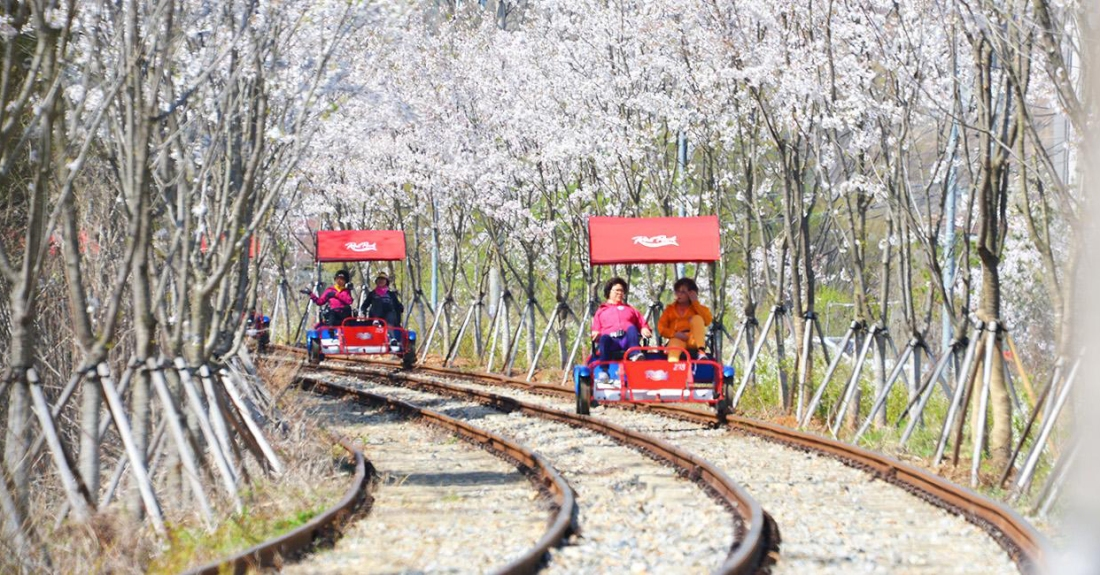 Gangchon Rail Park: Pedal along to enjoy the view.