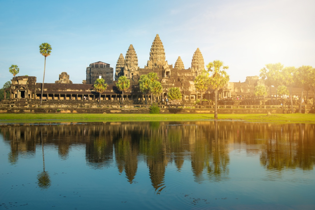 Angkor Wat the largest religious temple in the world, One of the most famous UNESCO world heritage sites of Siem Reap in Cambodia.