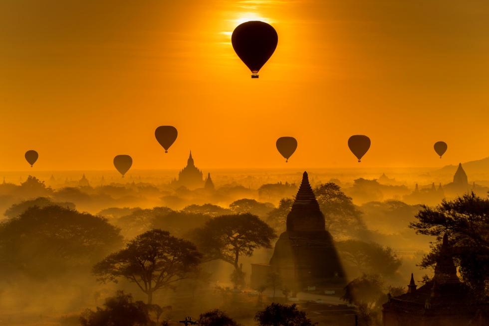 Silhouette of temples in Bagan, Myanmar