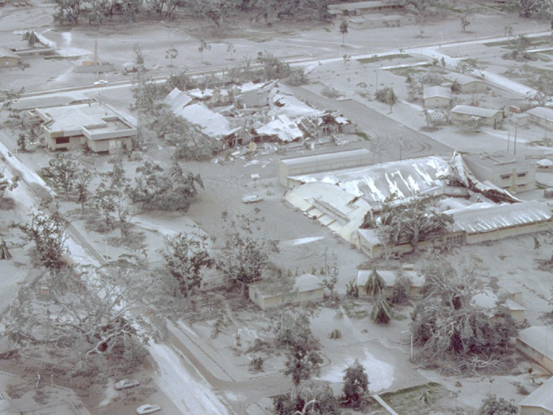 Clark Air Base after Mt. Pinatubo's eruption